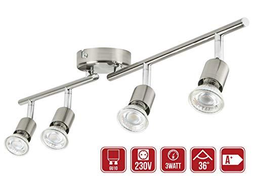 LED Deckenleuchte Schwenkbar 4 x 3Watt Leuchtmittel GU10 LED Strahler Deckenlampe Spots Wohnzimmerlampe Deckenspot LED Deckenstrahler Warmweiss Metall 273Lumen Drehbar 4-Flammig (Warmweiß 2700K)