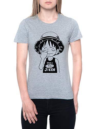 Uno Pieza Luffy Cosecha Nariz Camiseta Mujer Gris T-Shirt Women's Grey