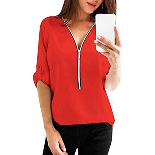 Damen Bluse Einfarbig T-Shirt Casual Bluse Zip Up V-Ausschnitt Sweatshirt Damen...