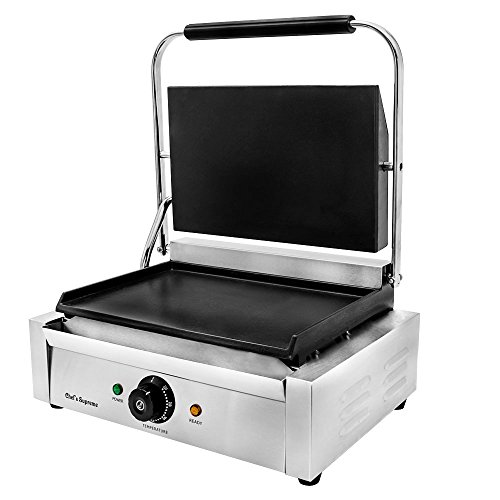 """Chef's Supreme - Countertop Panini Grill with 14"""" x 9"""" Smooth Cast Iron Plates, Each"""