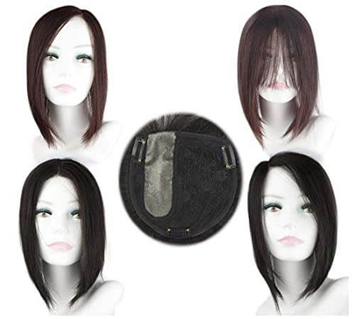 """14""""Left Part Real Human Hair Toppers Clip in Crown Hair Straight Hairpiece Wiglet for Women dark brown Yudit"""