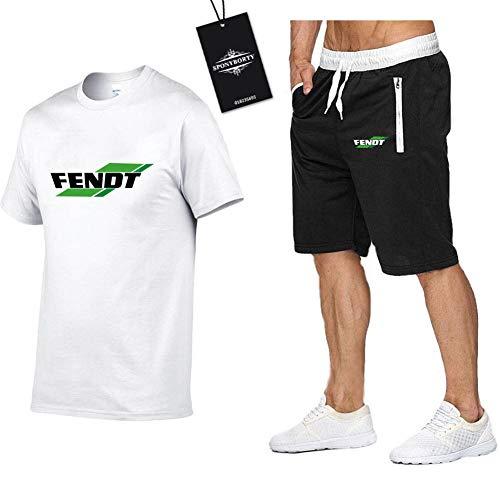 MAUXIAO Hombres Y Mujer Camiseta Bermudas Chandal Conjunto por Fe_N.Dt-s Dos Piezas Corto Manga Tee Pantalones Ropa Deportiva X/Blanco/XL
