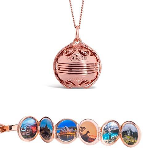 Lily Blanche Damen Halskette mit Medaillon 18 Karat plattiertes Roségold auf Sterlingsilber Entworfen in Großbritannien