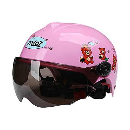 ZJM Casco de Bicicleta para niños, Medios Cascos de Moto eléctrica con Visera HD, Casco de Seguridad Ligero multideportivo para niños de 2 a 7 niños y niñas,Rosado