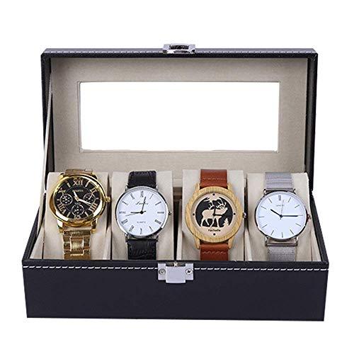 Suytan Cajas de Alenamiento de Relojes Caja de Reloj Organizador de Exhibición Caja de Reloj Superior de Vidrio Real con Cajón de Valet para Hombres 4 Ranuras,Negro,20X11X8Cm