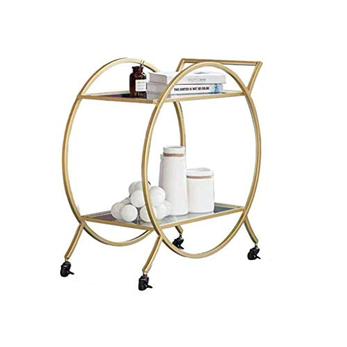 DSENIW QIDOFAN Carro de metal de 2 niveles para el hogar, restaurante o salón de belleza, carrito de almacenamiento multifuncional (oro, 73 x 40 x 76 cm)