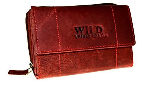 Portemonnaie Damen Wild Leder Geldbeutel in 6 Farben mit RFID Schutz (rot)