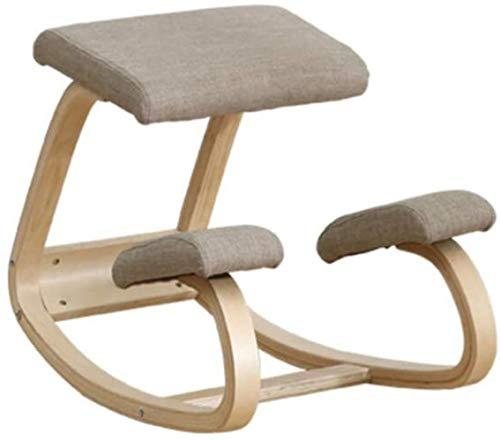 Ergonomischer Stuhl Büro Haltungskorrektur Holzbank Rückenstütze Matratze Orthopädische Soft Knee Pad Sessel (Color : Gray)