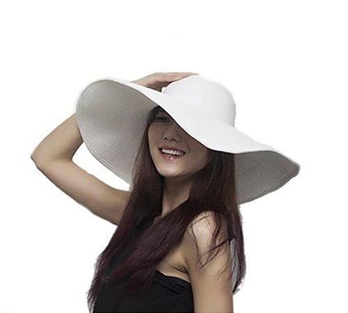 Upstore - Sombrero de sol para mujer, color puro, plegable, con ala grande, elegante, estilo bohemio, para verano, playa, paja UPF 50+, Disquete., Talla única, Blanco