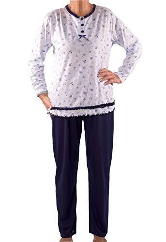 Seniorenmode24 Damen Senioren Oma Schlafanzug mit Blumen kuschelig weich aus Baumwolle Hose mit Gummizug ideal für pflegebedürftige Omas einfach anzuziehen und super pflegeleicht (blau/weiß, 38/40)