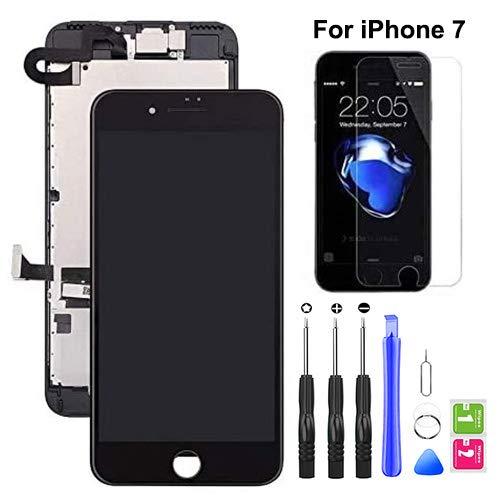 Hoonyer Pantalla para iPhone 7 Pantalla táctil LCD Pantalla digitalizadora Herramientas de reparación (con cámara Frontal,Sensor de proximidad, Altavoz) Negro