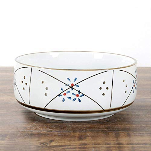 GUOCAO Cuenco japonés de cerámica antigua vajilla de cerámica pintada a mano color submarino sopa tazón de fideos tazón estrella punto 20.5x10cm hogar