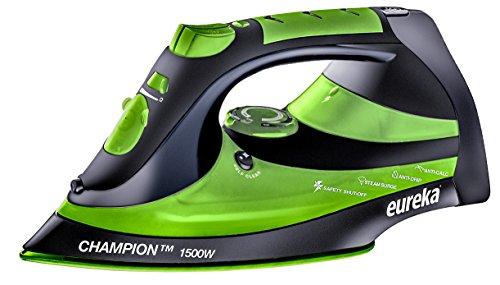 EUREKA ER15001 Champion 1500-Watt Micro Steam Iron Patent Nano Ceramic Soleplate with Auto-Off, Anti Drip, Green
