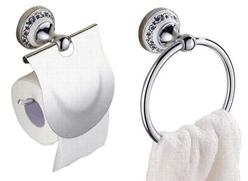 ヨーロピアン 風 トイレットペーパー ホルダー タオルハンガー セット おしゃれ 美しい 欧風 インテリア トイレ 用品 グッズ (シルバー 銀)