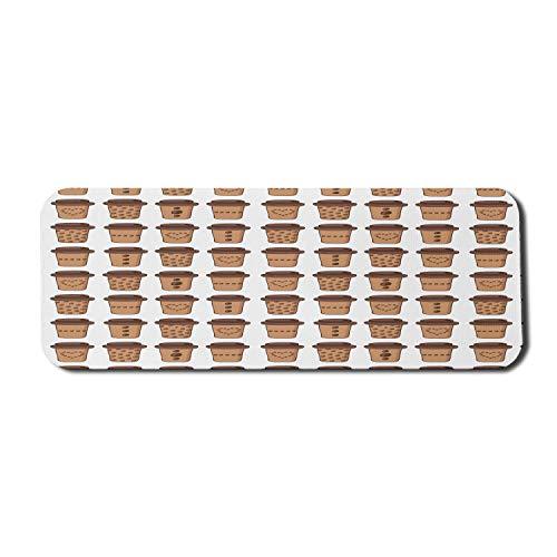 Getränke Computer Mouse Pad, sich wiederholende Cartoon-Stil Kaffeetassen mit kreisförmigen Ornamenten Herzen und Bohnen, Rechteck rutschfeste Gummi Mousepad große braune Kamel weiß