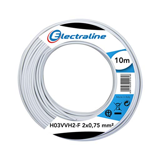 Electraline 10901 Piattina Indivisibile H03VVH2-F, Sezione 2x0.75 mm, 10 mt, Bianco