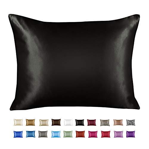 Luxury Satin Pillowcase w/Hidden Zipper, Queen Size, Black