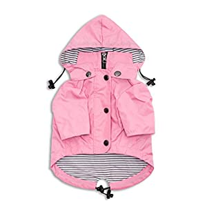 Ellie Dog Wear Zip Up Dog Raincoat Pink with Reflective Buttons, Pockets, Water Resistant, Adjustable Drawstring, Removable Hoodie – Size XS to XXL Available – Stylish Premium Dog Raincoats
