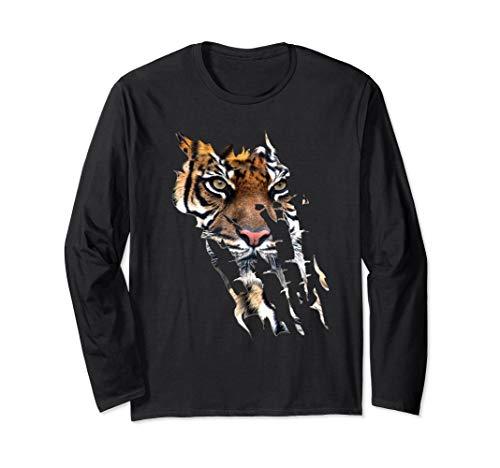 Bengal Tiger Face long sleeve t-shirt Tiger paw print