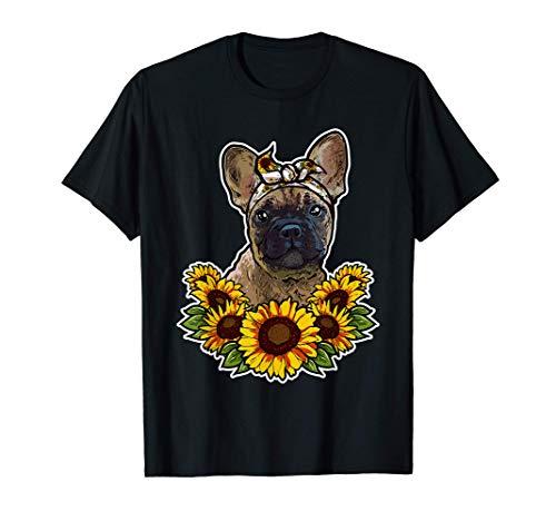 Bonito Bulldog Francés Regalo Girasol Decoración Perro Camiseta