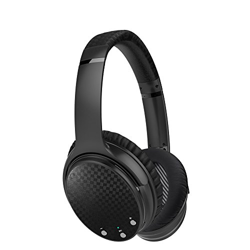 GD1 Bluetooth Wireless Active Noise Cancelling Headphones with Built-in Mic, 15 hrs of Music Playback, HiFi Stereo Over-Ear Headset for All 3.5 mm Jack Devices- Dark Grey/Black
