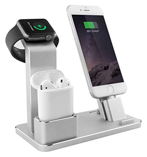 HCCHZR Top Selling Stand Fit 4 in 1 Airpods Accessories Charging Dock Phone Holder Fit Cell Phone Stand (Color : Silver)