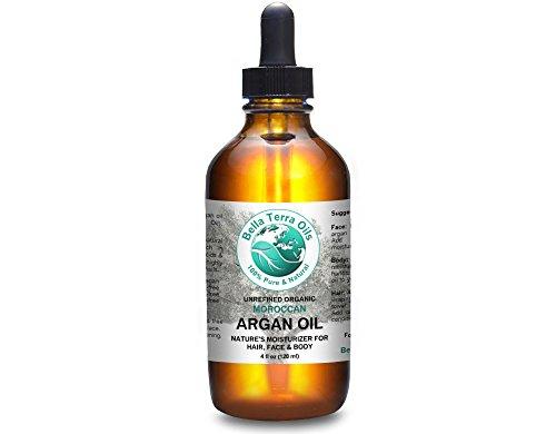 SALE! Argan oil 4oz 100% Pure Moroccan Cold-pressed Unrefined Organic Hexane-free Natural Moisturizer for Skin Hair. Non-comedogenic. Anti-aging. Great for sensitive, acne-prone skin. Bella Terra Oils