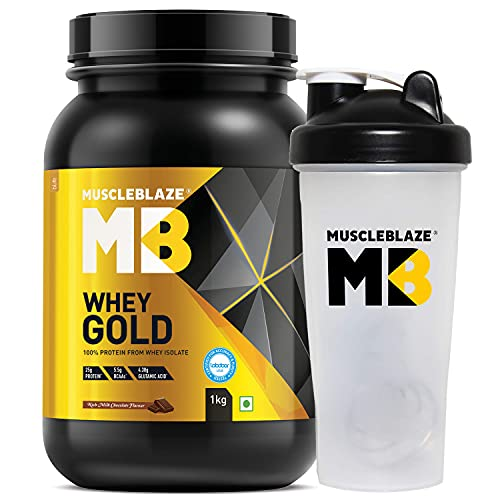 MuscleBlaze Whey Gold, 100% Whey Protein Isolate, Rich Milk Chocolate, 1 kg / 2.2 lb, 33 Servings with Shaker, 650 ml (Combo Pack)