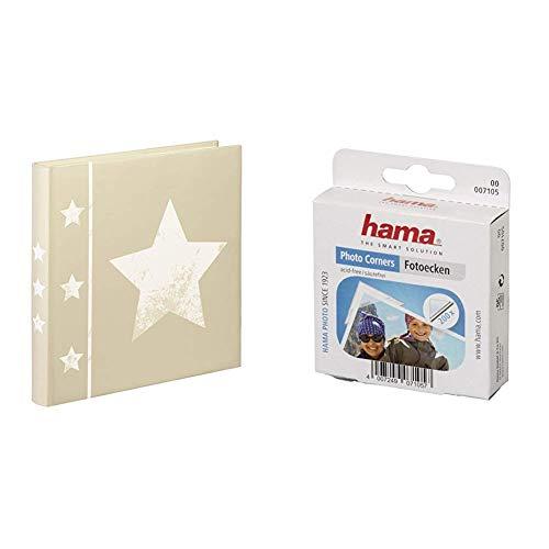 Hama 002336 - Álbum de fotografía, Color Beige + 7105 - Adhesivo en Puntos Doble Cara ángulos para Fotos, 200 Piezas, Transparente