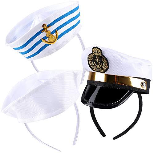 vamei 3 Pack Cappello da Marinaio Tiara Blu Navy Cappello da Infermiera Fascia Cappello da Vela Bianco Costume Accessorio per Bambini Cosplay Festa di Carnevale