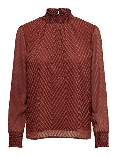 ONLY Damen Onlnew Kayla L/S TOP WVN Bluse, Rot (Henna Henna), Medium (Herstellergröße: 38)