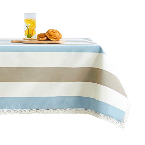 YYQIANG Mantel rectangular de mesa de café mantel de estilo europeo moderno minimalista literario de escritorio con borde de encaje, limpio (color: azul, blanco, marrón, tamaño: 110 x 170 cm)