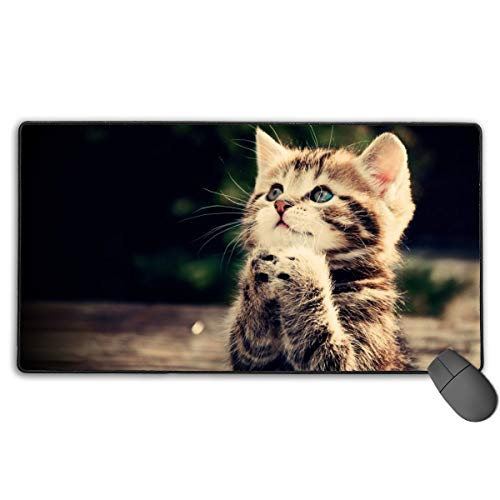 Keyboard Mouse Pads Anti-Slip Mousepad Pray Cute Kitten Animal Cat Extended Large Thick Gaming Mouse Mat Pad with Stitched Edge Cute Funny Novel for Games Work Study PC Computers