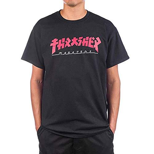 THRASHER Godzilla, Camiseta para Hombre,Large,Black