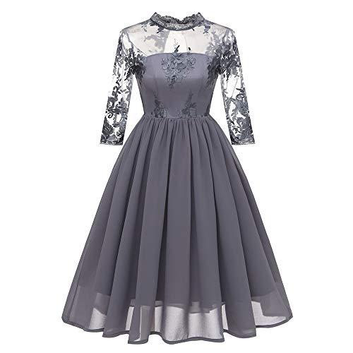 TWIFER Vintage Prinzessin Blumenspitze Knielänge Kleid Damen Cocktailparty Swing Kleider