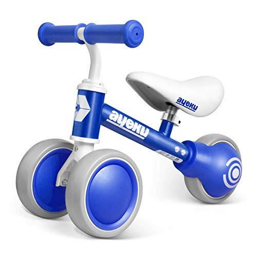 AyeKu Baby Balance Bike, Push Bike para niños y niñas de 1 año como regalo de primer cumpleaños con cómodo asiento ajustable en 3 ruedas
