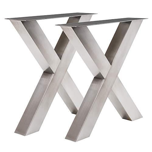Holzwerk Design Tux 303 Armature de table en acier inoxydable en forme de croix 690 x 725 mm Tube 100 x 100 mm