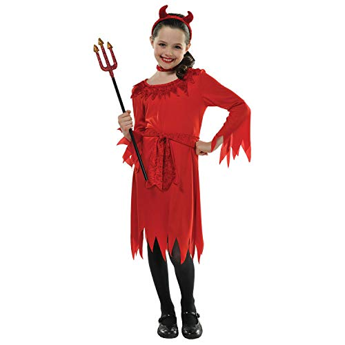 10-12 Years Girls Red Lil Demon Devil Fancy Dress Costume with Horns and Choker