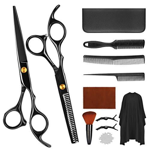 Haarschere Set,Premium Scharfe Friseurscheren,Edelstahl Haarschneide Scheren Haar Effilierschere mit Barber Cape,Professionelle Haarschneideschere Licht Einseitiger Effilierschere