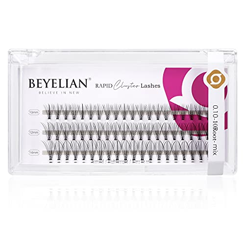 BEYELIAN Cluster Lashes, Natural Individual Cluster Eyelashes, 10 Root 0.10mm Thickness, 3 Rows Individual False Lashes, X Clusters Eyelash Extensions, DIY Daily Use Mix