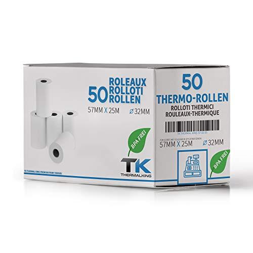 50 x EC Cash Thermorollen | Breite: 57 mm – Durchmesser: 35 mm - Hülsendurchmesser: 12 mm – Länge: 14 m | für Bondrucker, EC-Terminals, etc.
