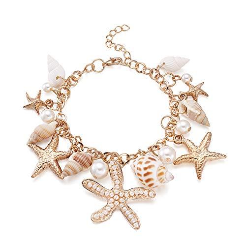 PandaHall 1 pulsera de concha de 230 mm de largo ajustable con cuentas de perlas y estrellas de mar de aleación para mujeres y niñas, color dorado
