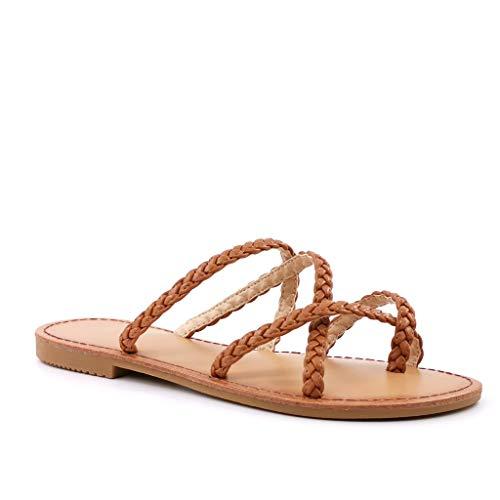 Angkorly - Damen Schuhe Flip-Flops Sandalen - Step - Böhmen - stilvoll - Multi-Zaum - glattes Leder - Geflochten Blockabsatz 2 cm - Camel LW21 T 38