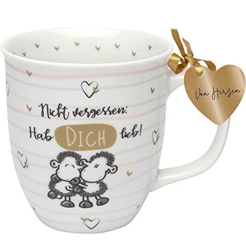 Sheepworld 46747 Cappuccino-Tasse mit Sheepworld-Dekor, Hab Dich lieb, Porzellan, 40 cl, mehrfarbig