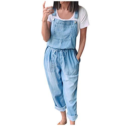Briskorry Peto vaquero para mujer, clásico, retro, con tirantes, peto y pantalones de corte recto, sin...
