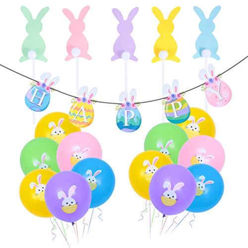 VALICLUD Banner de Fiesta de Pascua Conjunto de Decoración de Globos Colorido Huevo de Pascua Guirnalda Del Empavesado 12 Globos de Impresión de Conejo 5 Adorno de Pastel en Forma de