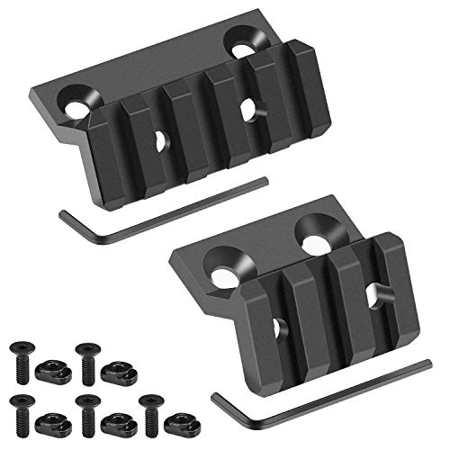 Compatible with Mlok Offset Rail Mount 3 Slots 5 Slots Aluminum Offset Side Light Optic Sight Picatinny Rail Mount for MLOK System - 2 Pack