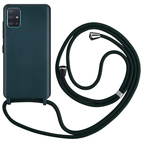 CLM-Tech Carcasa con Cuerda para Colgar Compatible con Samsung Galaxy A51 - Funda Silicona con Cordon para Llevar en el Cuello, Verde Oscuro