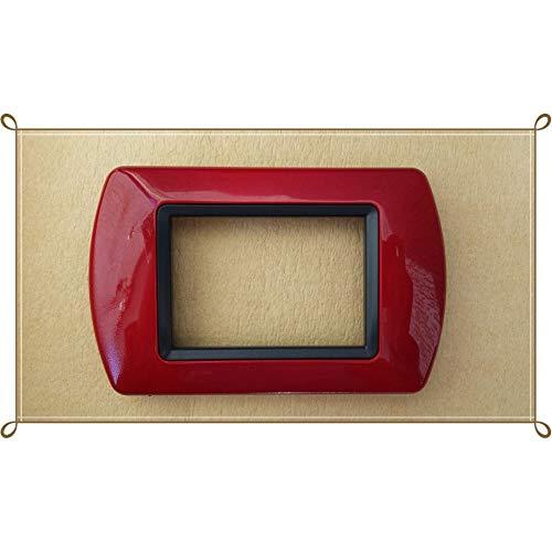 TradeShop - PLACCHETTE PLACCHE in ABS COMPATIBILI per Serie Living International - 3321 - Rosso Scuro, 3