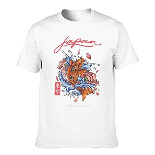 Lind88 Herren Japan Koi Tokyo T-Shirt aus Baumwolle – Fashion Wear Gr. XXXXX-Large, weiß